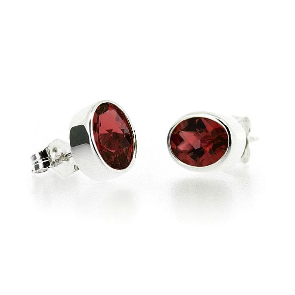 Silver Oval Garnet Earrings
